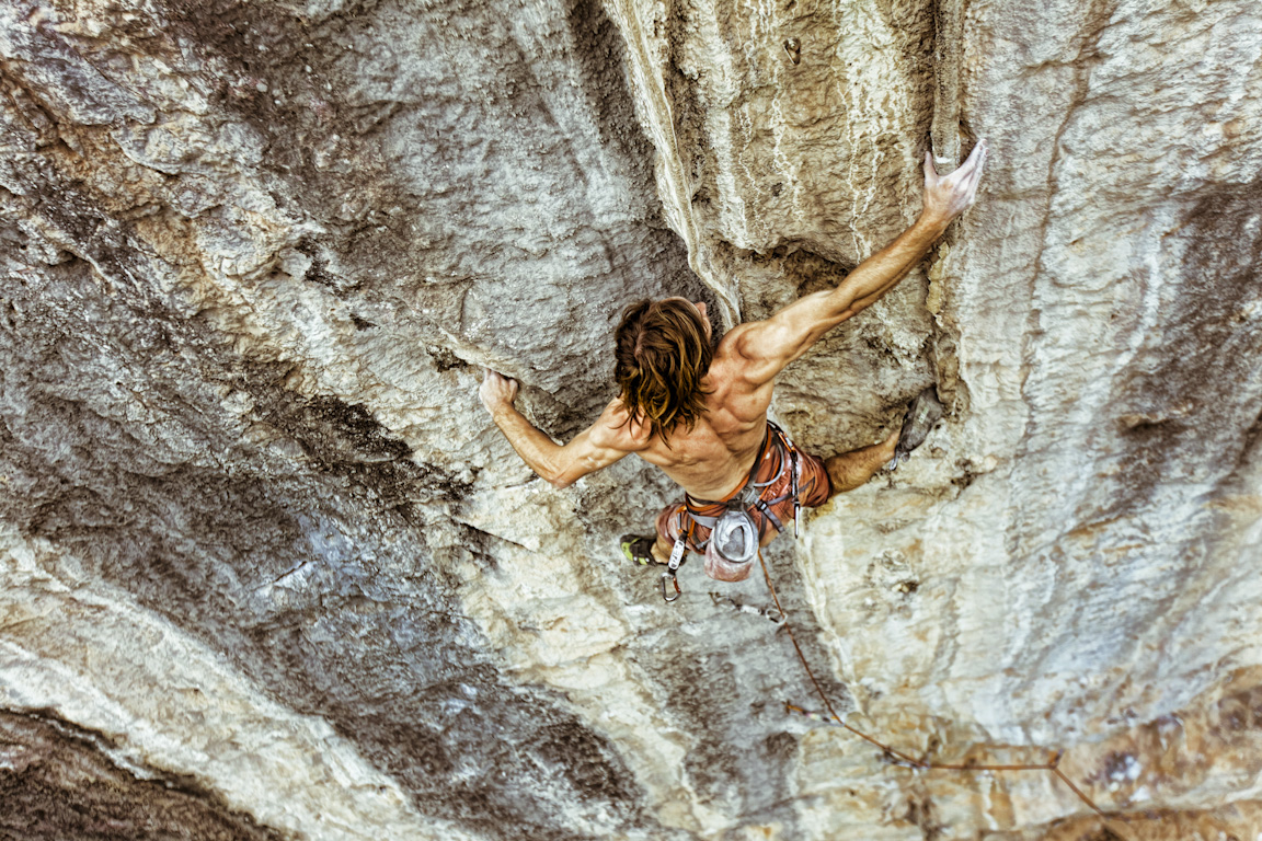 "Chris Sharma on ""Spicy Noodle"", White Mountain, Yangshuo, China."